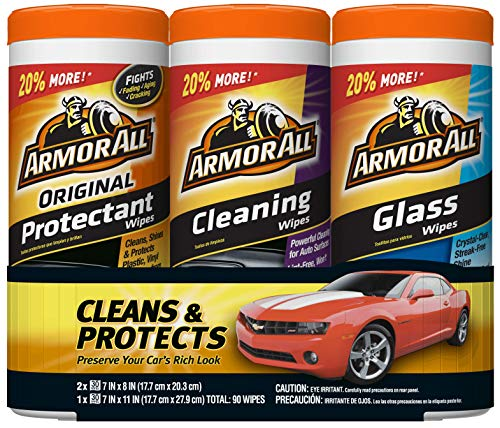 Armor All 18782 Protectant, Glass and Cleaning Wipes, 30 count each - 3 Pack Wipes (Best Auto Interior Cleaning Products)