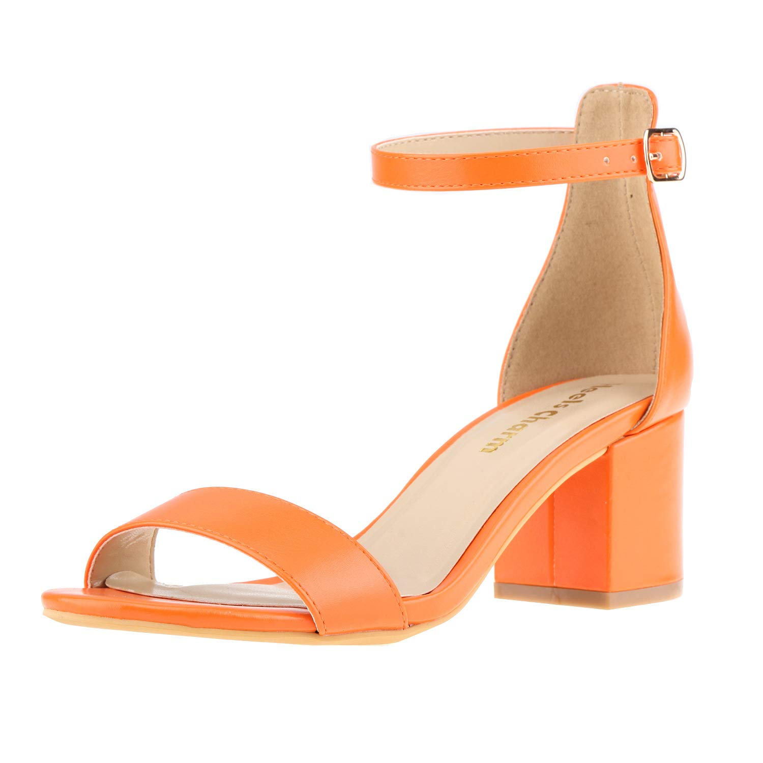 orange Women's Strappy Chunky Block Low Heeled Sandals 2 Inch Open Toe Ankle Strap High Heel Dress Sandals Daily Work Party shoes