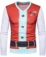 Vertvie Herren Langarmshirt Weihnachtspullover Sweatshirts Strickpullover Rundhals Pulli mit 3D Weihnachtsbaum Druck