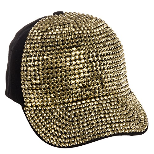 Crystal Case Womens Cotton Gold Rhinestone Studded Baseball Cap Hat (Black/Gold) (Black Rhinestone Hat Baseball)