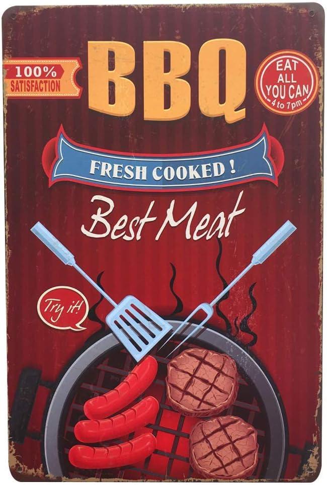 BBQ Best Meat Targhe Cartello Targa in Metallo Retro Decorazione della Parete per Negozio Garage Casa Giardino Bar Caffetteria Ristorante Hotel