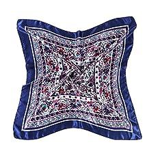lovescarf Women's Graphic Print Silk Feeling Square Scarf Neckerchief 35*35 Inches (Royal blue)