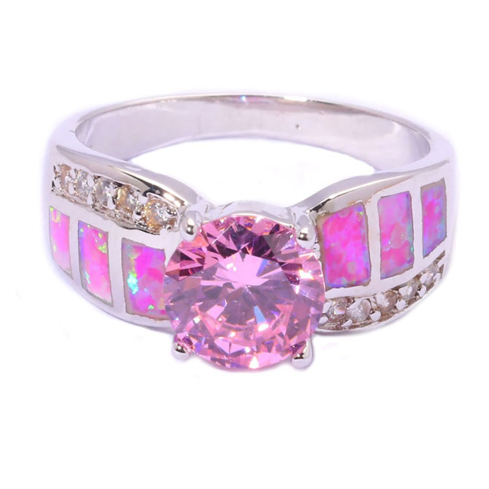 Amazon.com: T-Jewelry Beautiful Pink Fire Opal Jewelry Ring For ...