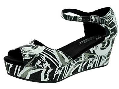 255f5fec1a4 TOMS Women s Platform Wedge Black White Sandal 5.5 Women US