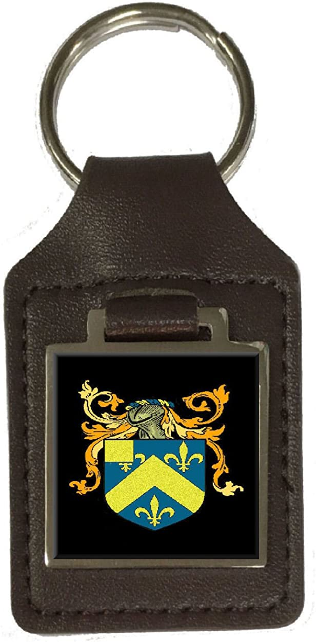 Hill Family Crest Surname Coat Of Arms Brown Leather Keyring Engraved