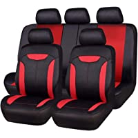 NEW ARRIVAL- CAR PASS Montclair 11PCS Universal Fit Seat Covers With opening Holes for vehicels,car,Suv (Black and Red color)