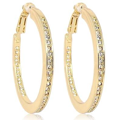 Schmuck gold  Creolen mit Kristallen von Swarovski® Weiß - Silber oder Gold ...