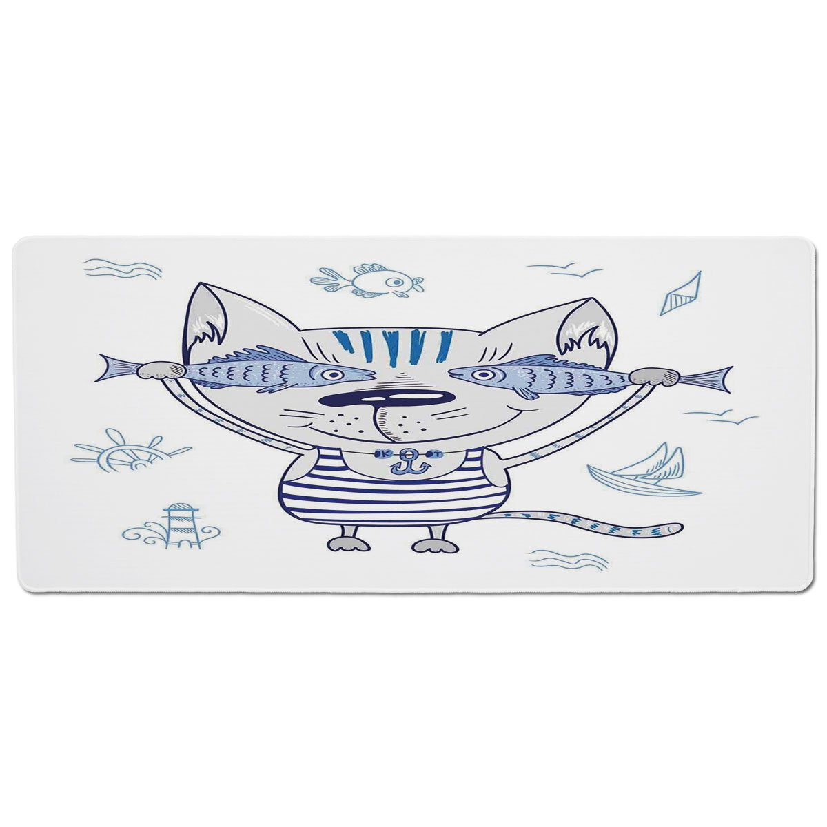 35.4\ Pet Mat for Food and Water,Ocean Animal Decor,Naughty Cat with Fish in Striped T Shirt Anchor Pendant and Nautical Sign,bluee Grey,Rectangle Non-Slip Rubber Mat for Dogs and Cats