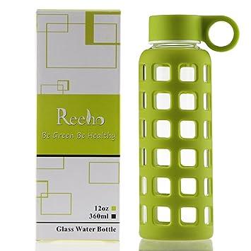 Reeho® Deportes Borosilicato Botella de Agua de Vidrio con Silicona Manga [Libre de BPA