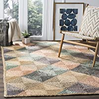 Safavieh Natural Fiber Collection NF872A Hand-Woven Natural and Multi Jute Area Rug (3 x 5)
