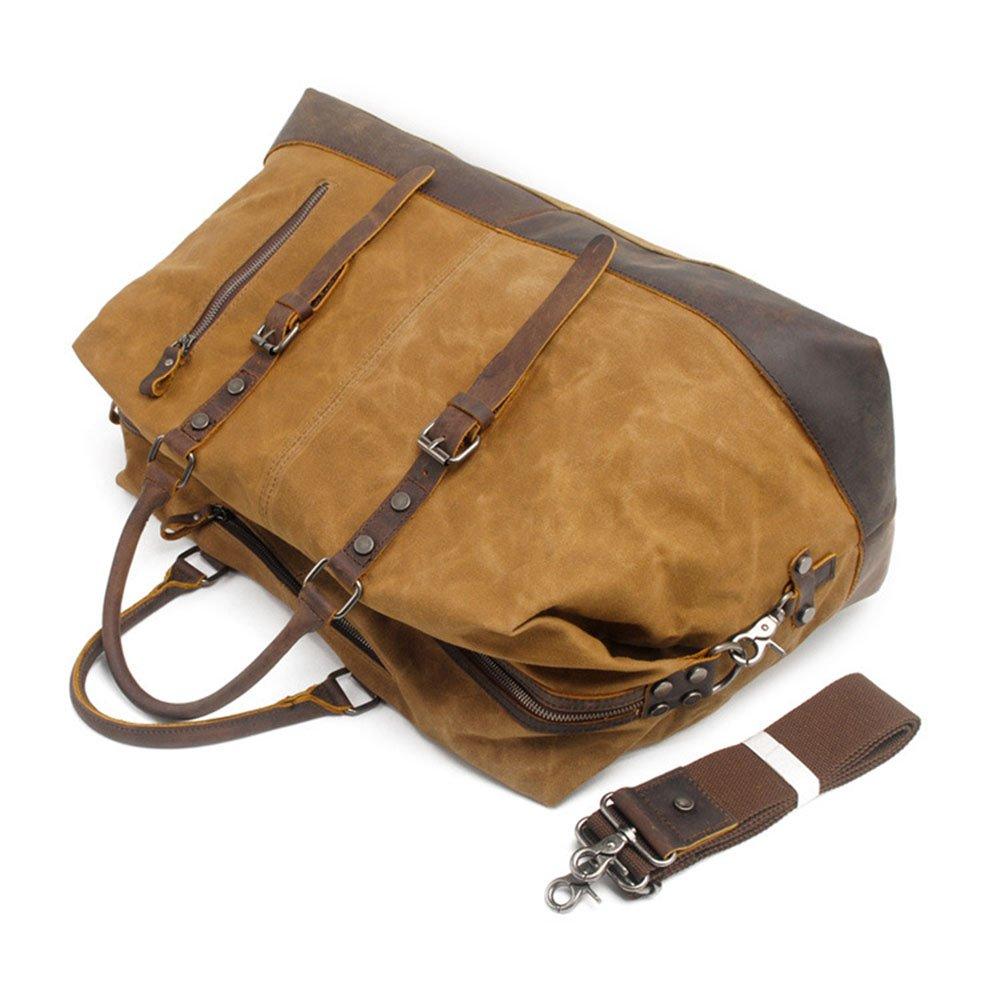 GLJJQMY Large-Capacity Mens Portable Travel Bag Europe and America Waterproof Oil Wax Canvas Messenger Bag 54 X 23 X 42cm Travel Bag
