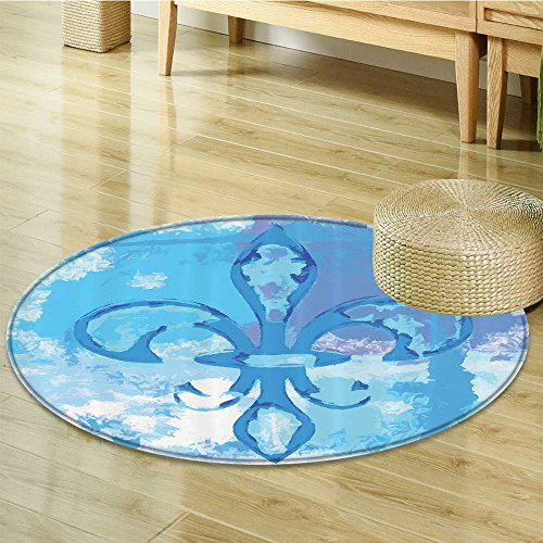 Fleur De Lis Decor Circle carpet By Nalahomeqq Illustration Of Lily Flower Like Frozen Heredic Nobility Emblem Queenly Style Print Room Accessories Blue-Diameter 140cm(55