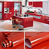 """YENHOME 24"""" x 393"""" Glossy Red Self Adhesive Vinyl Contact Paper for Cabinets Covering Kitchen Table Drawer and Shelf Liner Removable Self Adhesive Wallpaper for Furniture Wardrobe Decor"""