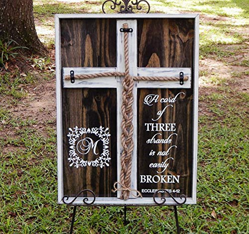 Cord of Three Strands, Wedding Braid Cross Board Sign, Unity Candle Alternative Custom Made 24