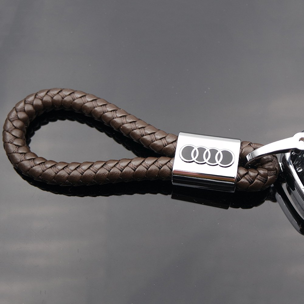 Coffee US85 For Audi Logo Emblem Key Chain Key Ring Metal Alloy BV Style Calf Leather Gift Decoration Accessories