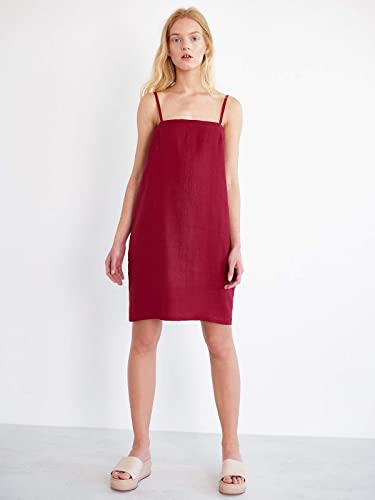 5e8d6a80919e Amazon.com  VIOLET Linen Slip Dress for Women in Red - Midi Sleeveless  Strappy Summer  Handmade