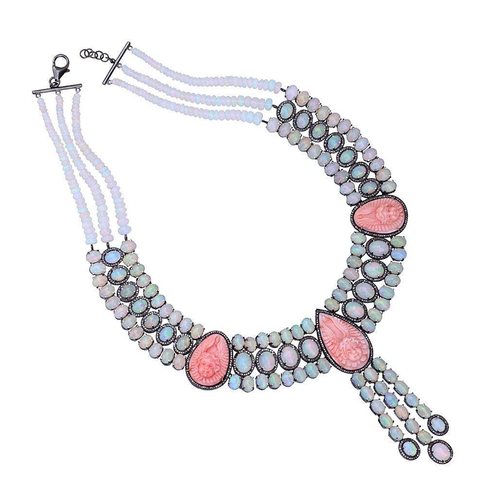 Opal & Coral Gemstone Choker Necklace 92.5 Sterling Silver Pave Diamond Jewelry Necklace