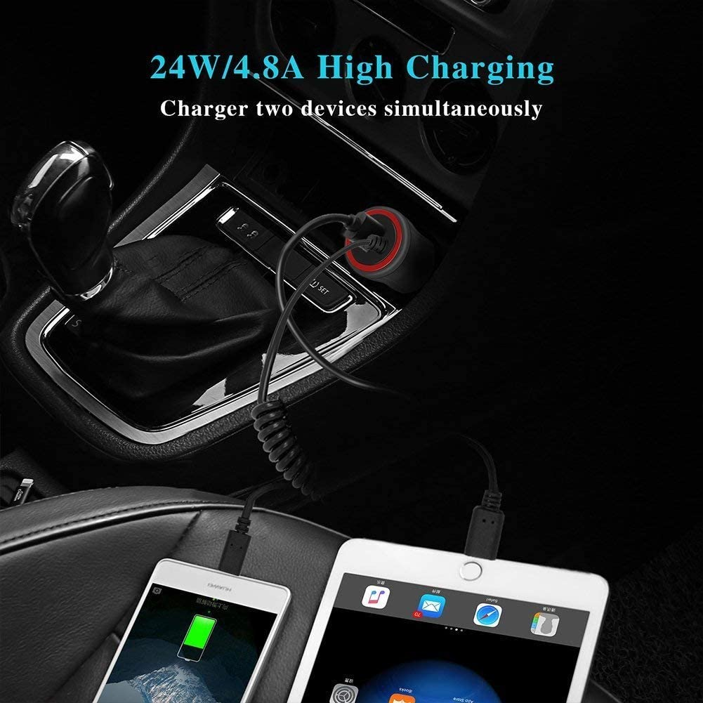 iPhone Car Charger 24W//4.8A Rapid USB Car Charger Adapter Compatible iPhoneX,8//8Plus,7//7plus,6//6s,6//6s+,5s,5,SE,iPod,iPad Pro,Air,iPad