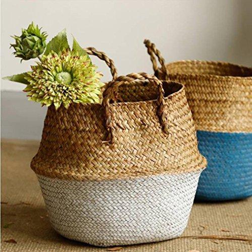 YJYdada Seagrass Wicker Basket Wicker Basket Flower Pot Folding Basket Dirty Basket (White)