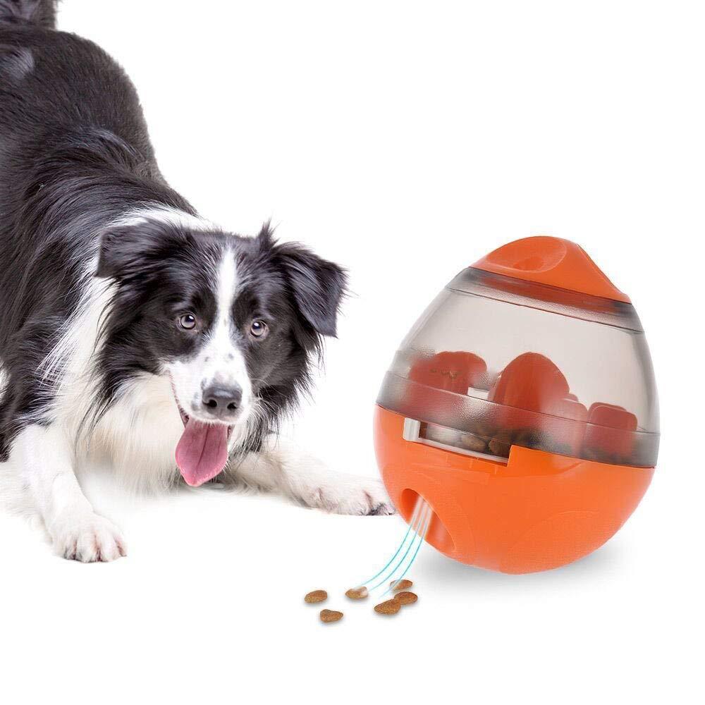 orange Dog Food Ball, Dog Treat Balls Dispenser, Feeding Training Puppy for Dogs and Cats, Best Alternative to Bowl Feeding,orange