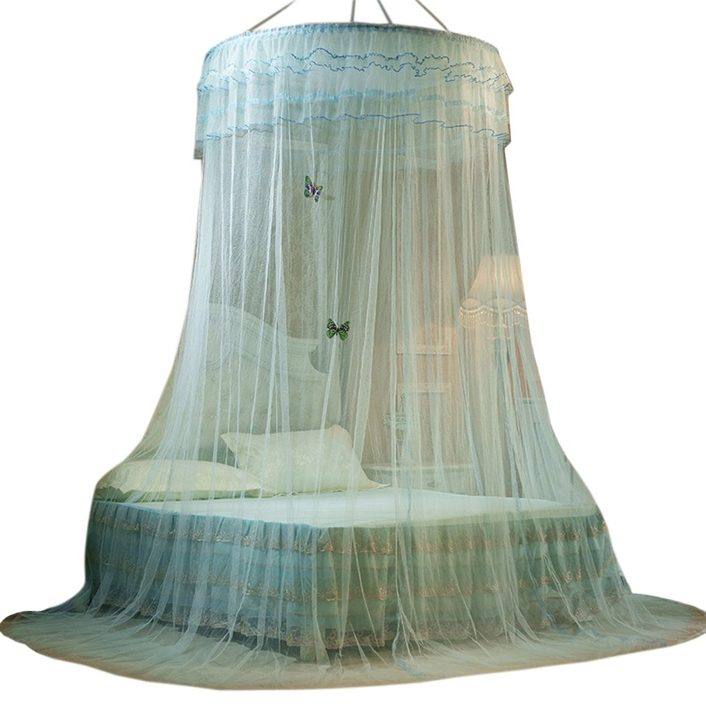 Bed Nets King Size Round Hoop Mosquito Bed Canopy Queen Size Full Coverage (White) La Vogue