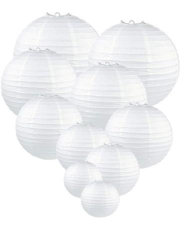 45f5e894365604 GoFriend Lot de 10 lanternes en papier rondes blanches, suspensions en  papier de soie,