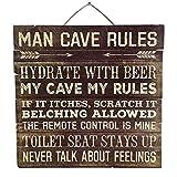 Imprints Plus Man Cave Rules Distressed Wood Sign, 12