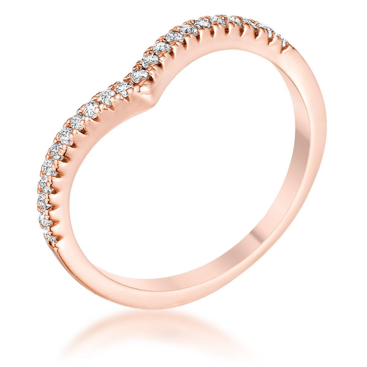 Freedom Fashion .22Ct Rose Goldtone Chevron Ring with CZ
