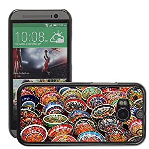 Hot Style Cell Phone PC Hard Case Cover // M00151086 Art Background Bowl Ceramic Color // HTC One M8
