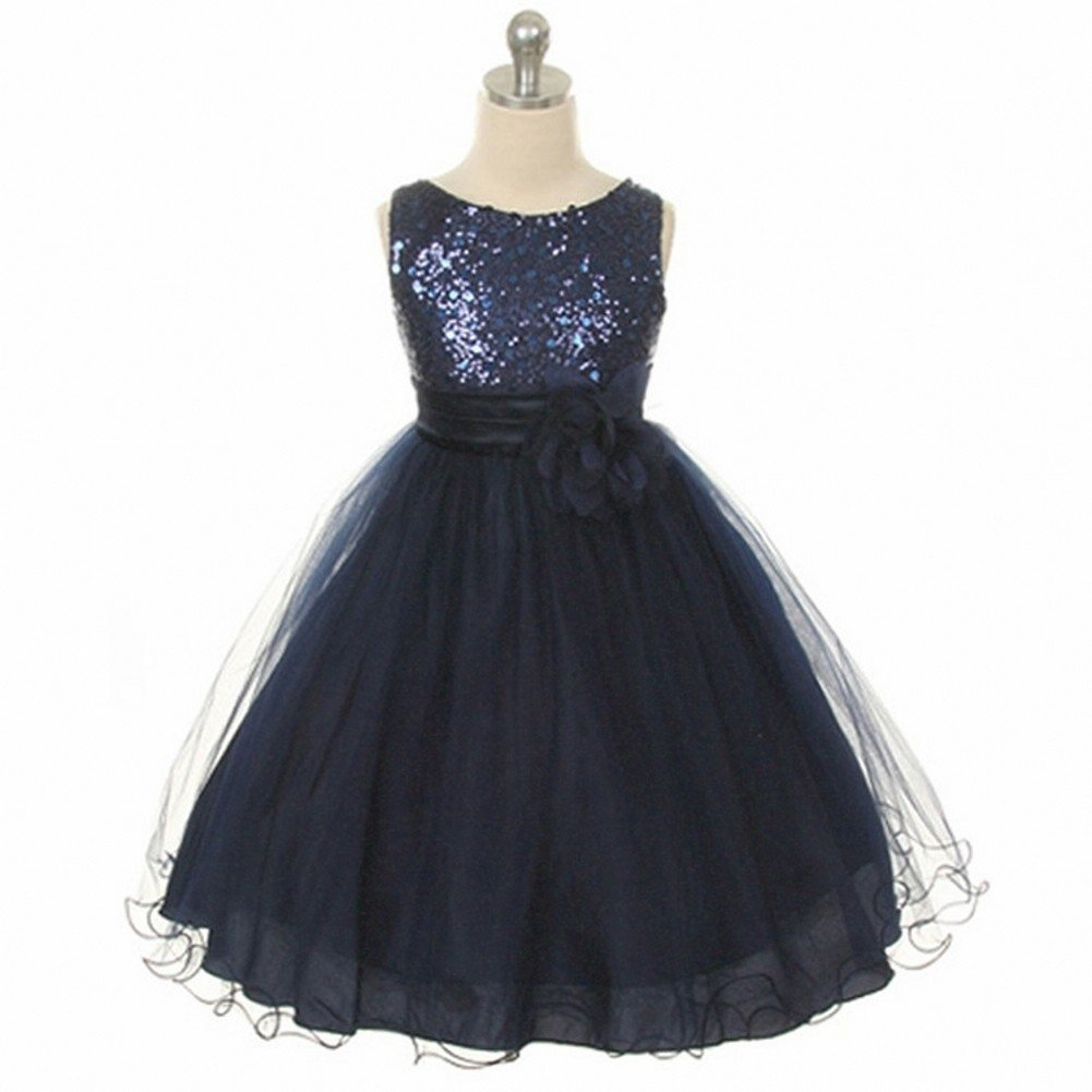Love Dress Sequin Flower Girls Dress Organza Christmas Dress Navy Us 12