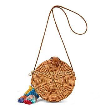 Amazon.com: Bolsas de paja circulares de ratán Bali para ...