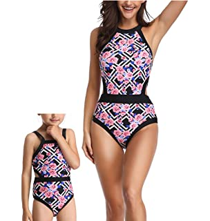 0845b08a982 Acircle Mommy and Me Swimsuit Family Matching Mother Girl Floral One Piece  Cutout Bathing Suit Swimwear