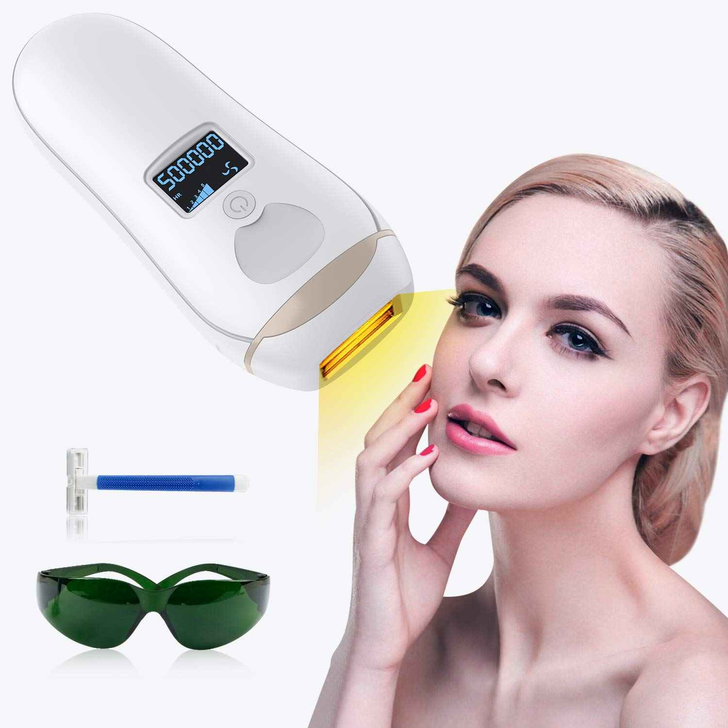 Hair Removal, Hair Removal For Women, Permanent Hair Removal, Laser Hair Removal IPL 500,000 Flashes Hair Removal For Face and Body With 5 Different Level Adjustment and Manual/Auto Settings