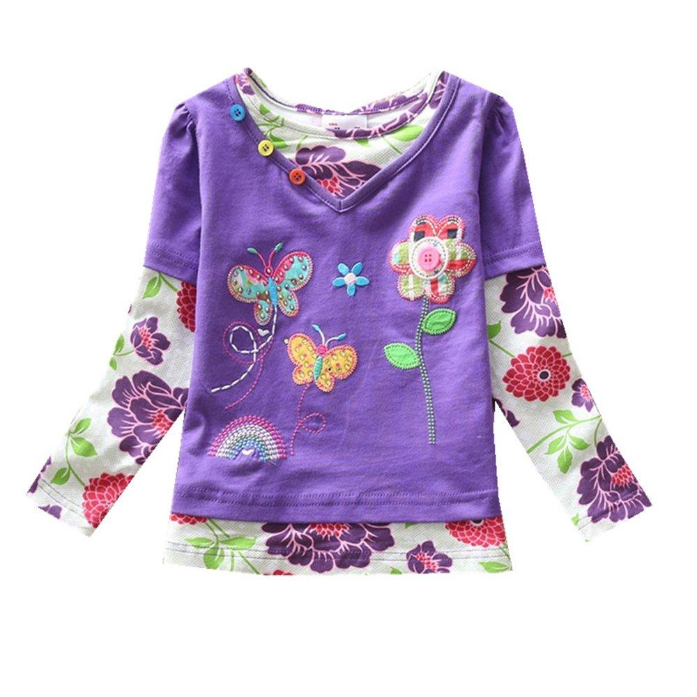 VIKITA 2017 Girls Rainbow Stripe Flower Cotton T Shirt Tee Long Sleeve Clothes for 2-6 Years (7T, G619PURPLE)