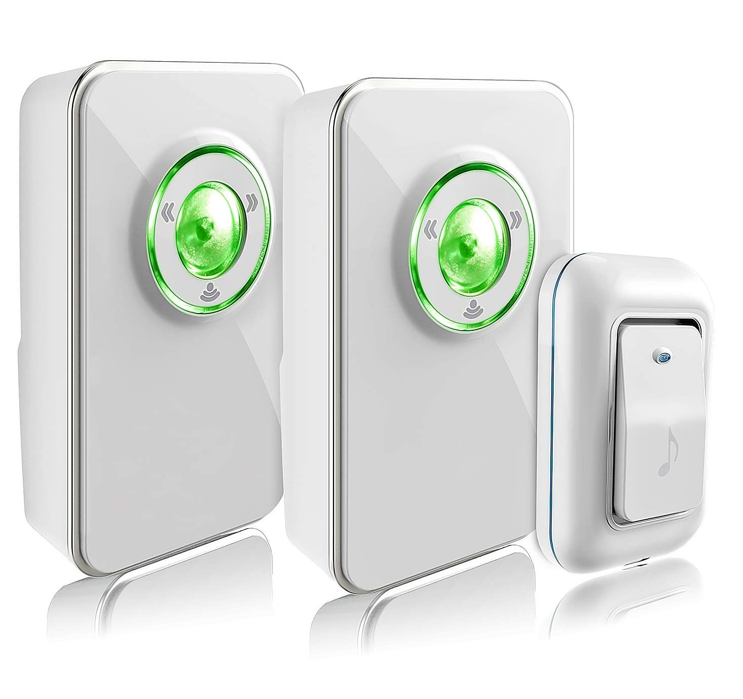 Wireless Doorbell Kit with 2 Receivers and 1 Remote Push Button Operating at 1000 Ft with 36 Chimes 3 Level Volume Green Strobe Light White Two Receivers