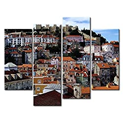 YEHO Art Gallery Painting Lisbon With Crowd House Portugal Print On Canvas The Picture City Pictures