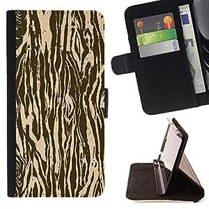 BullDog Case - FOR/Samsung Galaxy S5 Mini, SM-G800 / - / zebra wood animal pattern brown /- Monedero de cuero de la PU Llevar cubierta de la caja con el ID Credit Card Slots Flip funda de cuer