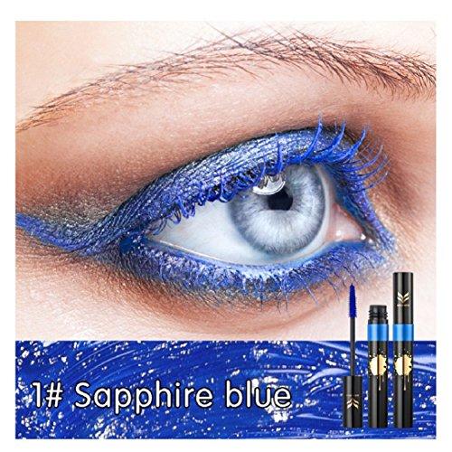 YABINA 1pcs Professional Eyes Makeup Lengthen Eyelashes Mascara Color Waterproof and Easy Remove (Blue) ()