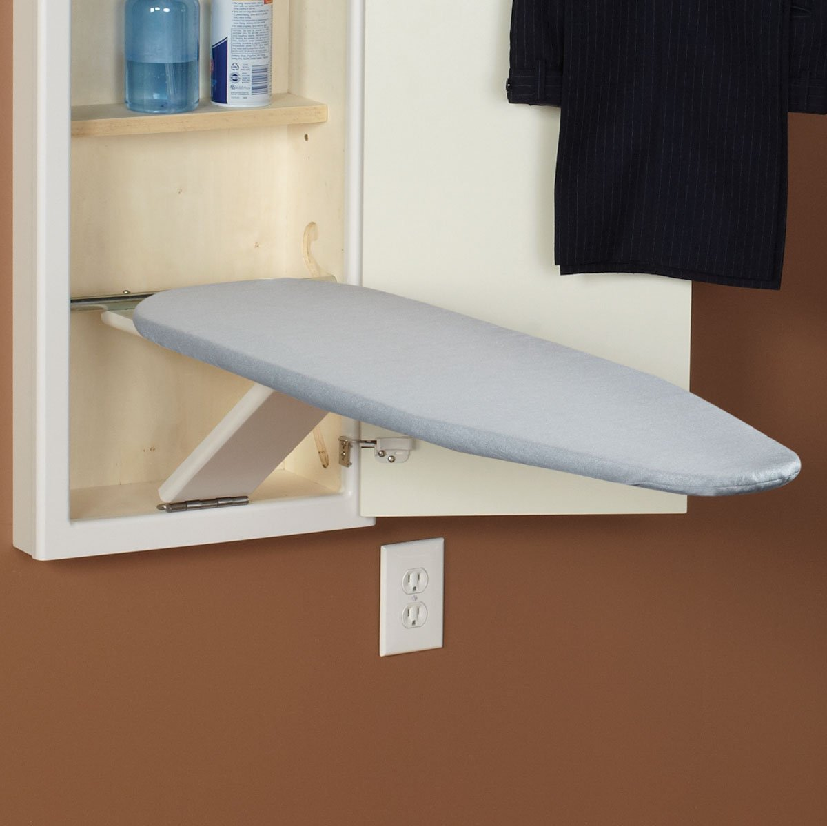 Silver Silicone Household Essentials Stow Away Replacement Pad and Cover for In-Wall Ironing Board, Silver Silicone
