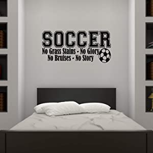 Empresal Soccer Sports Vinyl Wall Decal Children Decor No Grass Stains Glory Boys Room Art Lettering Childrens Quote Bruises Story Sticker Kids