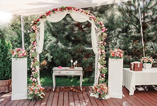 AOFOTO 8x6ft Wedding Decoration Background Flower Arch Photography Backdrop Marriage Ceremony Photo Studio Props Bride Girlfriend Adult Artistic Portrait Vinyl Wallpaper (Bouquet Wedding Freesia)