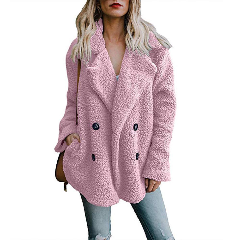Helury Women's Long Sleeve Faux Fur Coat Button Down Jacket with Pockets Winter 80809012HECAWQWQ