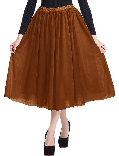 54e79ed30a v28 Women Girls Junior Pleated Tulle Tutu Ballet Midi Elastic Skater Dance  Skirt at Amazon Women's Clothing store: