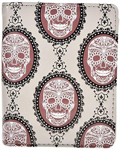 - Shag Wear Women's Fashion Small Zipper Wallet Vintage Skulls Light Grey