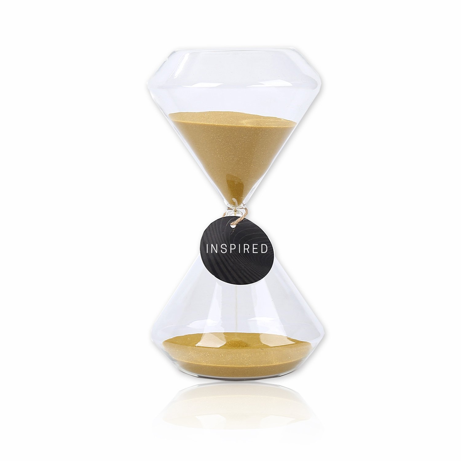 Hourglass Sand Timer-Inspired Glass,Home,Desk,Office Decor (7.5 Inch, Gold 30 Mins)
