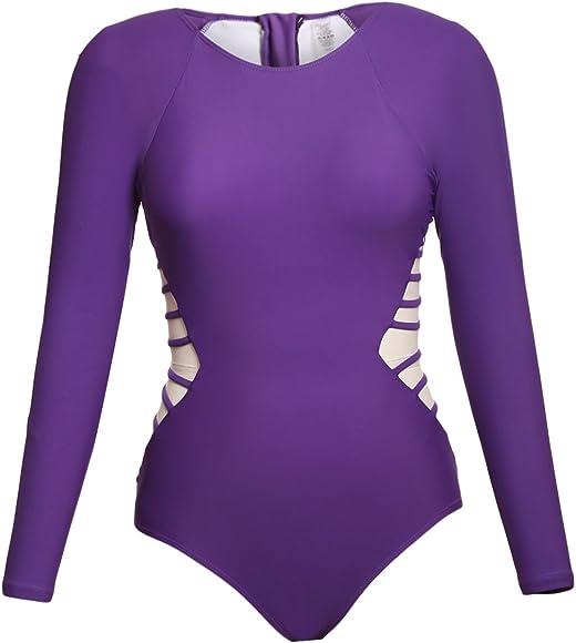 e7fa51f49bf5e0 Amazon.com: ROSKIKI Women's Long Sleeve Zipper Quick Dry One Piece ...