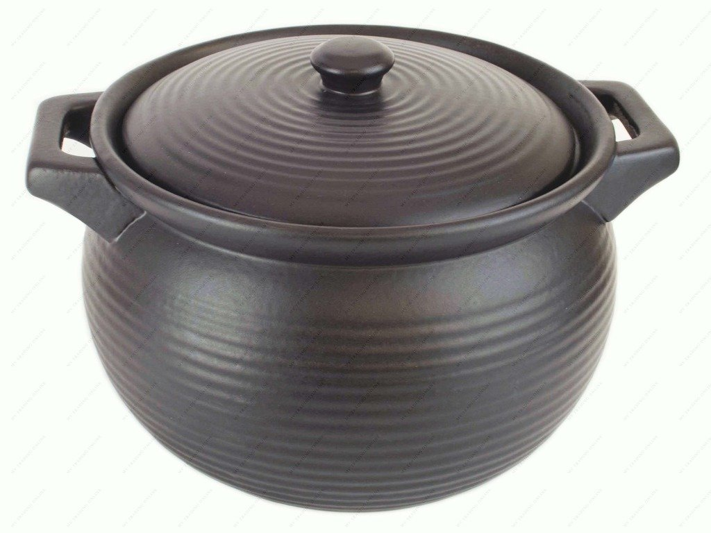M.V. Trading K85 Stoneware Chinese Cooking Pot, Black, 4-Quart