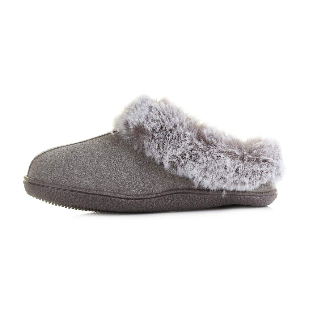 CLARKS Womens Home Classic Grey Suede Comfort Mule Slippers D Width Size