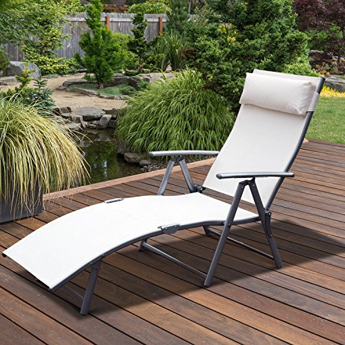 Alek…Shop Fabric Patio Reclining Chaise Lounge Garden Yard & Pool Furniture Folding