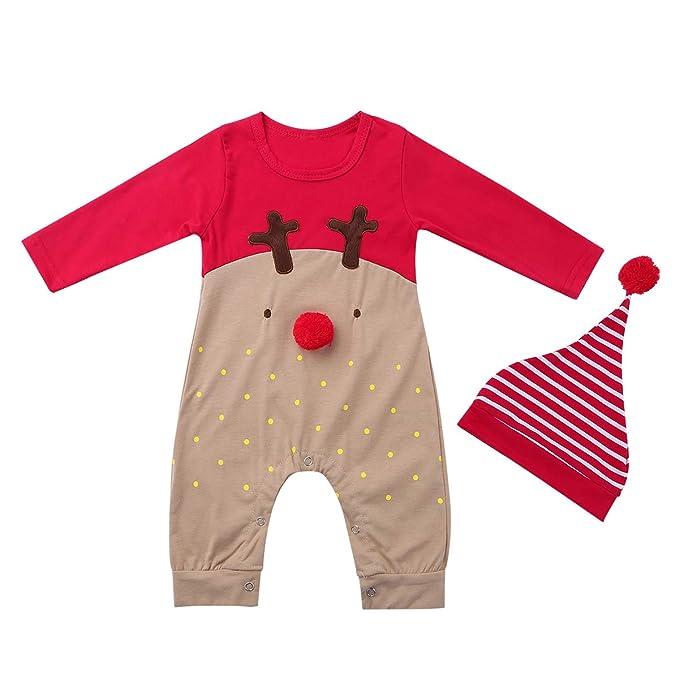 iiniim Pelele Navidad Bebé Niño Niña Recién Nacido Pijama Manga Larga Ropa Infantil Navidad Reno Rojo Conjunto Mono+ Sombrero: Amazon.es: Ropa y accesorios